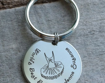 Worlds Best Ballerina Personalized Key Chain - Engraved