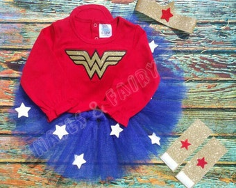 Girl Wonder Woman Halloween Birthday Super Hero Costume with Tutu and Stars Dress Up Headband Cuffs
