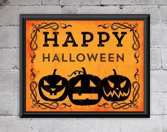 Happy Halloween Printable Art Jack O Lantern Pumpkins Home Decor Art Print Vintage Wall Art 10x8 Instant Download Digital File