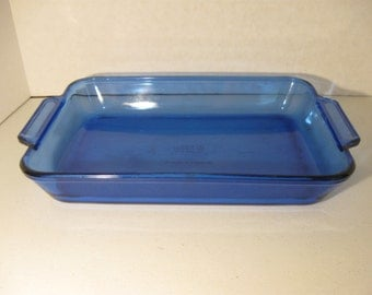 Vintage Anchor Hocking 3 Quart Blue Ovenware Two Handled Lasagna Glassware Pan #1040