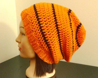 Orange & Blue Striped Beanie