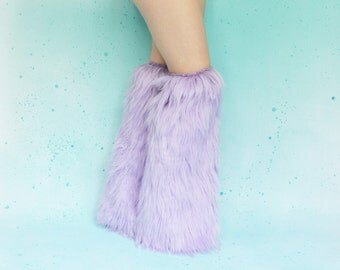 Lavender Boot Covers FREE SHIPPING: Light Purple Lilac Fluffies, Lavender Rave Fluffies, Fur Boot Covers, Fur Leg Warmers, Furry Cosplay