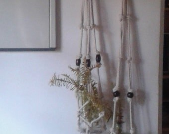 Set of 2 natural  plant hangers,bottle / candle holders,simple knotted plant hanger,hanging planter,indoor / outdoor.rope planter.