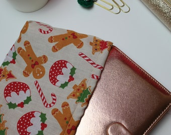 Planner Pouch Sleeve Cover Filofax Kikki K Personal Size Festive Christmas Pudding, Candy Cane and Gingerbread Man Print with fleece lining
