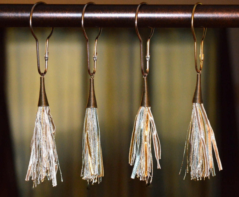 Shower Curtain Hooks Boho Silky Tassels By Offthepedestal