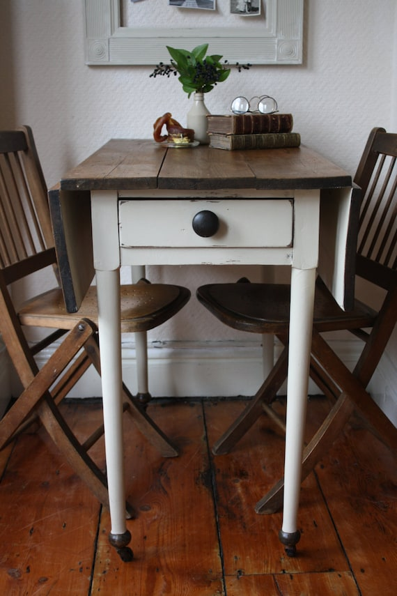 Restored Vintage Pine Drop Leaf Table With Single Drawer And