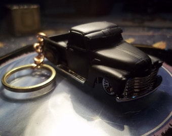 custom made keychain 1948 to 1952 chevy custom stepside truck,flat black w/chrome grill-bumpers-mags-hand made chain-jumprings-repaint