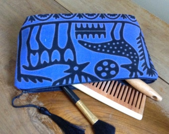 Ethnic make-up bag made of hand-printed fabric in Tokat