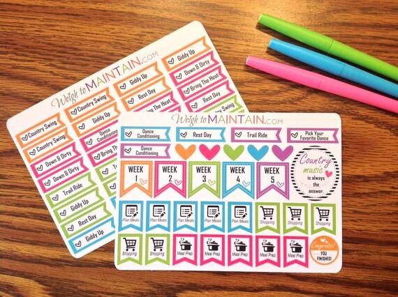 Country Heat Stickers for Erin Condren Planner | Beachbody Country Heat Planner Stickers