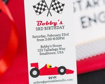 Race Car Birthday Invitation INSTANT DOWNLOAD  - Printable Racing Ticket Invitation by Printable Studio