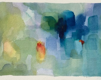 Abstract Original Watercolor-Painting-Colorful-Art