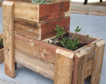Tiered Wooden Planter - large