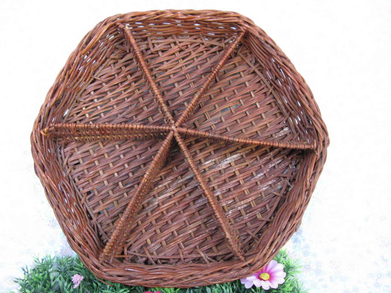 Wicker tray divided wicker tray wicker bowl brown wicker - Divided wicker basket ...