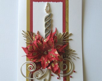 Merry Xmas Greeting Card - Paper Art Christmas wishes - Pretty Happy Holidays Gift Card - OOAK Merry Christmas card