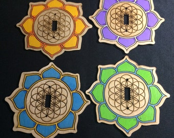 Light Switch Covers lotus/flower of life and Hand painted!