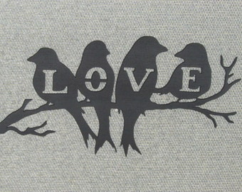 Love Birds Sitting On A Branch Wood Wall Art Decor
