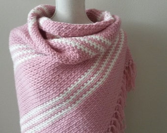 Warm and soft shawl, pink with creme, XXL