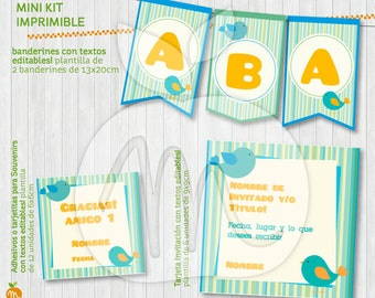 LOVELY Printable and editable texts kit with Little Birds! INSTANT DOWNLOAD!