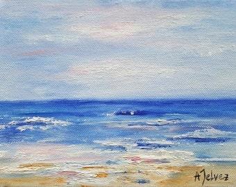 "Beach painting Ocean art Water art Beach art Ocean painting Beach art décor Beach art work Water painting Small original oil painting 6x8"""