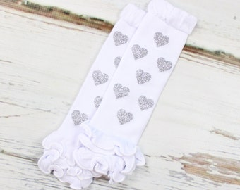 Silver Hearts Leg Warmers | Sparkly Silver Hearts Leg Warmers on White Leg Warmers with Ruffles