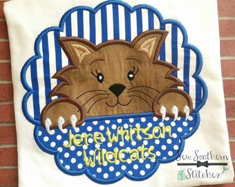 Wildcat Scallop Circle Applique ~ Wildcats Mascot ~ Instant Download