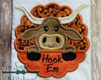 Longhorn Scallop Circle Applique ~ Longhorn Mascot ~ Instant Download