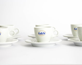 Vintage Set of 6 Coffee Cups and Saucers - Caffè Sì - ACF Italian Ceramic