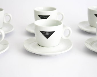 Vintage Set of 3 Cappuccino Cups and Saucers - Caffè CELLINI - Ipa Italian Ceramic