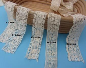 Beige Lace trim,Cotton ribbon,DIY embroidery trim,cotton lace trim-MXT001