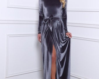 Gray Velvet Maxi Slit Dress Long Sleeves
