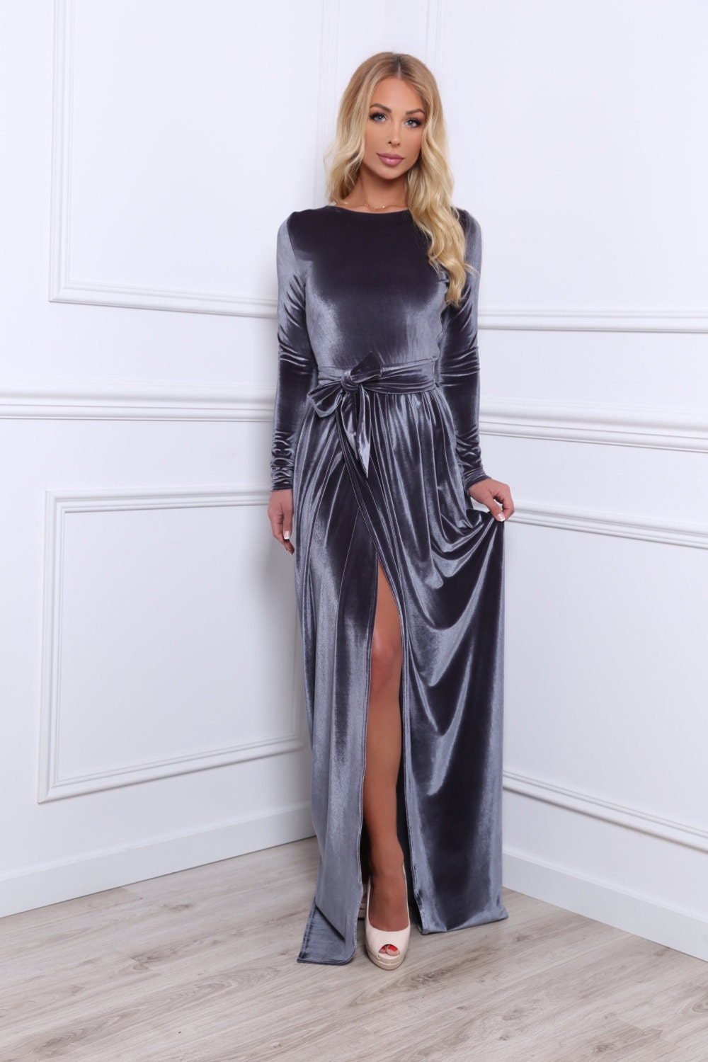 Gray Velvet Maxi Dress Slit Long Sleeves