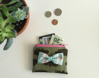 Coin purse, Hippo purse, Green hippo change zipper bag, floral Bow, Business card holder, wallet, ID holder #227