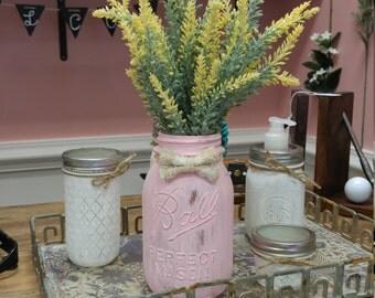 Perfectly Pink Burlap Bow Mason Jar Arrangement!