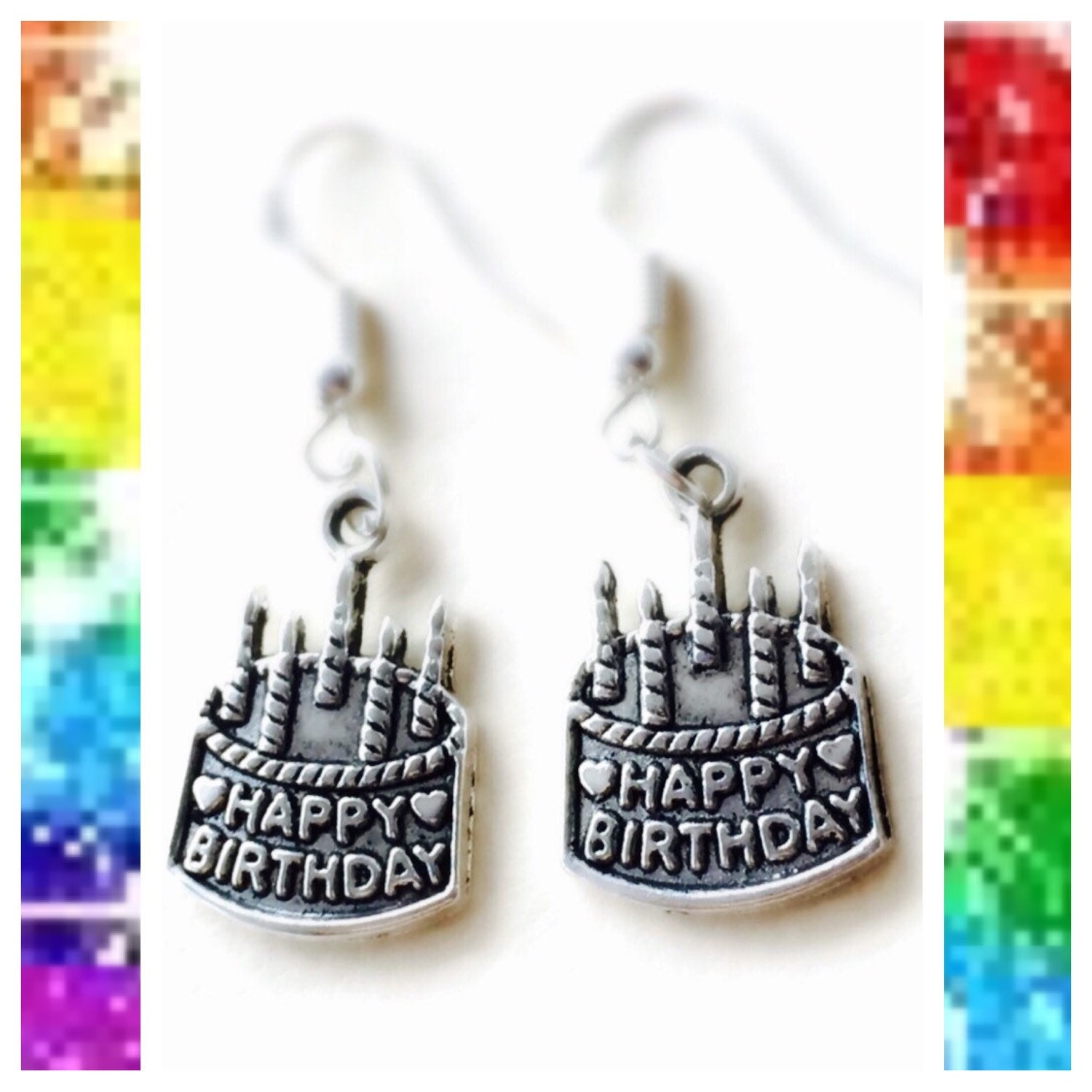 Happy Birthday Cake Earrings 925 Sterling Silver Wires