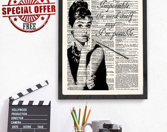 Audrey Hepburn Print, Audrey Hepburn Quote, Wall Art Print, Nothing is Impossible, Inspirational, Dictionary Print, Typography Art,-459