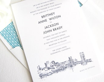 Sacramento Skyline Wedding Invitation, Sacramento Wedding, Sacramento Invite,  (Sold in Sets of 10 Invitations, RSVP Cards + Envelopes)