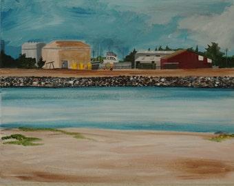"Original acrylic painting, ""Moss Landing #1,"" 11 x 14."