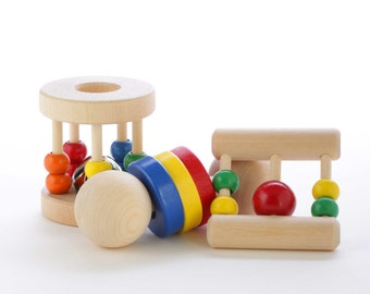 Wooden Baby Rattle Gift Set - Natural Teething Toys