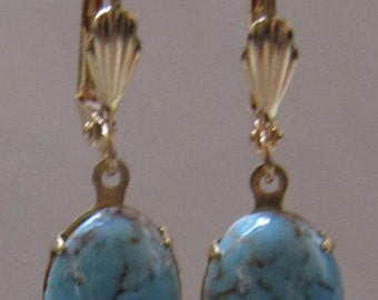 Vintage Turquoise glass earrings