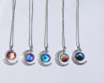 Galaxy Moon Necklace, Galaxy Necklace, Crescent Moon Necklace, Moon Galaxy Necklace, Moon Necklace, Galaxy Pendant, Nebula Necklace, Galaxy