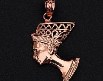 Rose Gold Queen Nefertiti Filigree Pendant Necklace - Egyptian Egypt Queen Necklace . Queen Nefertiti pendant . Queen Pendant Necklace