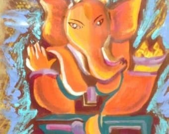 "Bright Ganesha Canvas print 8"" x 12"""