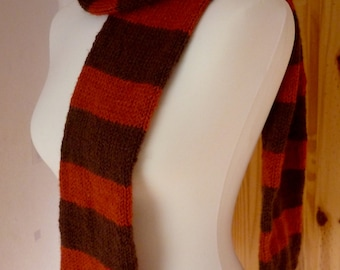 Brown and orange stripes scarf