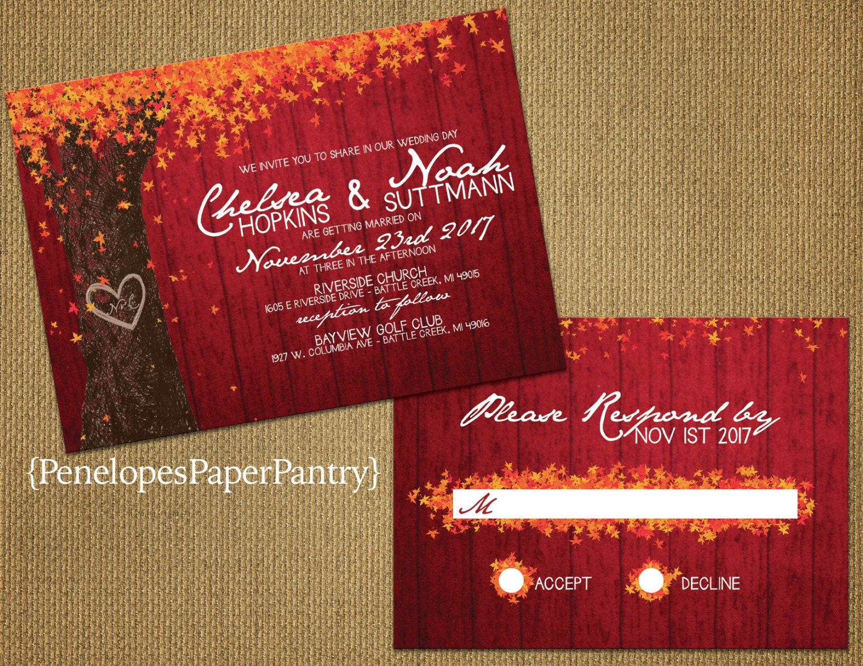 Rustic Romantic Wedding Invitations: Romantic Rustic Fall Wedding Invitations Red Barn WoodOak