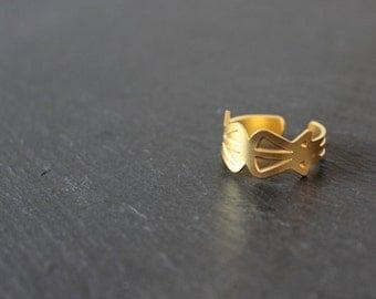 Ring Lyne brass gilded art deco geometric adjustable