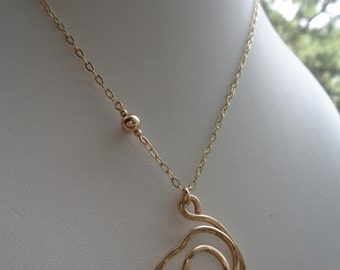 Gold chain with spiral pendant, 585 gold filled, freestyle, unique!