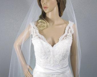 White Wedding Veil Fingertip, One Layer Plain Viel