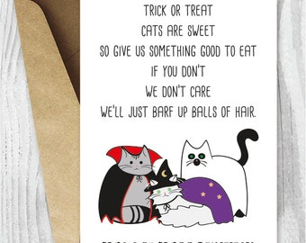 halloween cards funny halloween cats printable cards halloween digital downloads trick or treat - Good Halloween Poems