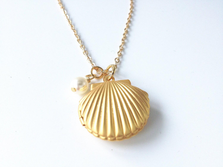 mermaid necklace sea shell necklace shell locket
