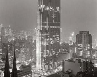 Rockefeller Center, 1933. Vintage Photo Digital Download. Black & White Photograph. New York City, Architecture, Skyscraper, 1930s, 30s.